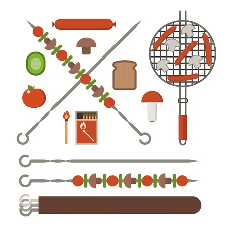 champignon: Vegetarian picnic and barbeque appliances. Barbecue skewer, bbq grill grates with sasuges, fire sticks, champignon mushrooms, grilled bread and vegetables. Stock Photo