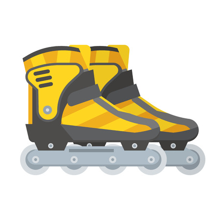 Yellow modern roller blades. Sport roller skates. City sports equipment.