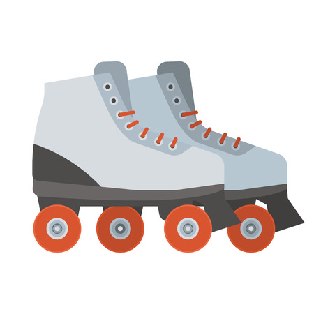 roller blade: White woman roller blades. Girl roller skates with red wheels illustration. City sports equipment.