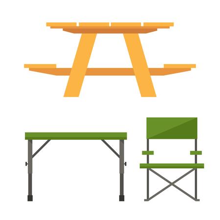 Table de camping en bois colorée et table de pique-nique en plastique illustration vectorielle. Vecteurs