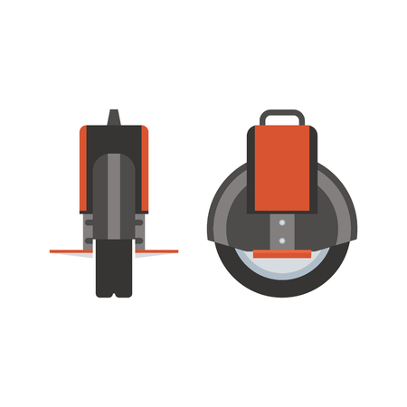 Monowheel vector illustration. Self-balancing wheel icon in flat design. Modern city ecological transport. Balance vehicle.