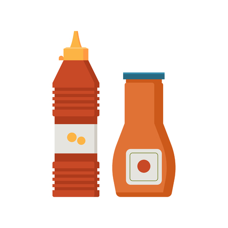 bottled: Plastic bottled tomato ketchup and mustard vector icons.