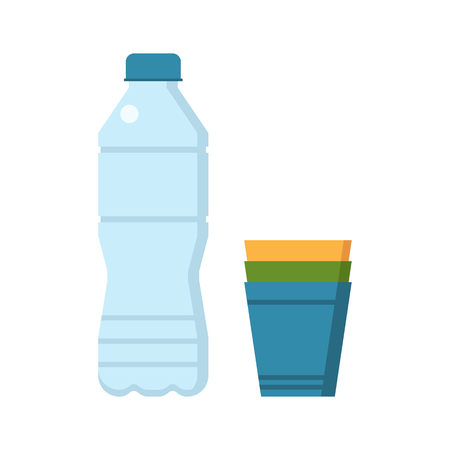 bottled: Water bottle and colorful plastic cup set vector illustration.