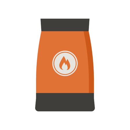 firewood: Barbecue coal bag icon. Firewood pack vector illustration. Stock Photo
