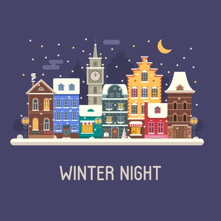 mansard: Winter night city background. Snowy Christmas street flat landscape with colorful european houses and New Year decorations. Christmas night europe city winter card with building facades and snowfall.