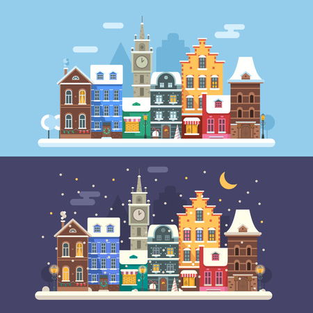 mansard: New Year city flat landscape with traditional europe houses, clock tower and Christmas lights. Day and night europe Christmas street banners with colorful building facades and Christmas decorations.