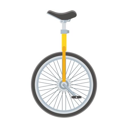 uni: Unicycle bike icon. Monowheel bicycle vector illustration. Alternative city transport. Monocycle isolated on white. Stock Photo