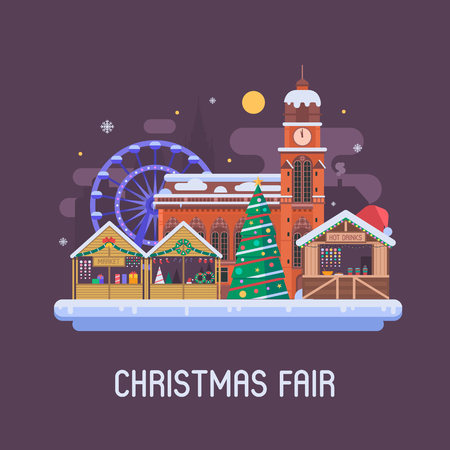 Christmas fair in winter town square. Traditional europe christmas market with souvenir stalls, Xmas tree, gift shops, ferris wheel and cathedral. Christmas city flat landscape by Eve night.