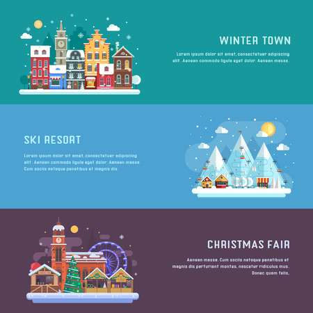 destinations: New Year banners with winter travel destinations. Europe snow town, Christmas market and alps mountain ski resort. Winter landscapes in flat design. New Year holidays and vacation concept backgrounds.