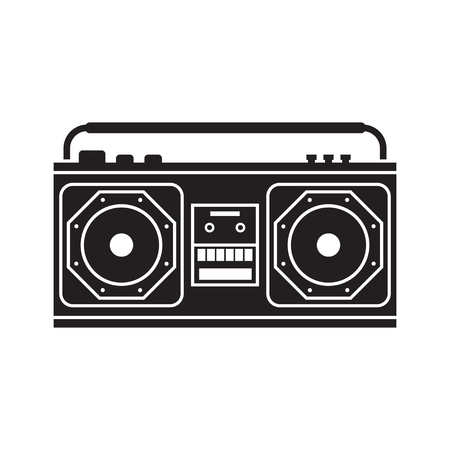 tape recorder: Retro tape recorder outline vector illustration. Vintage cassete record player silhouette isolated on white.