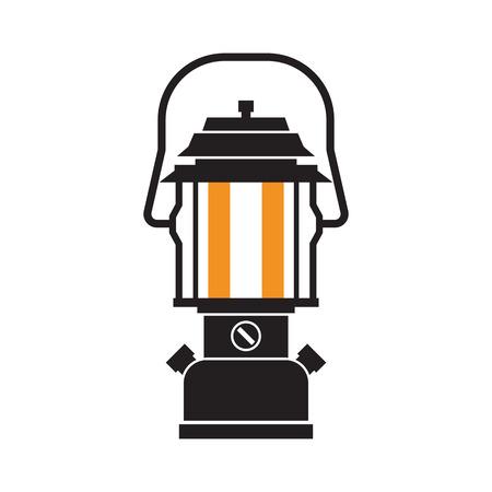 Vintage camping lantaarn silhouet geïsoleerd op een witte achtergrond. Moderne lamp met gloeiende brand lont. Diode toeristische lantaarn schets vector illustratie. Oude lamp om te wandelen. Stockfoto