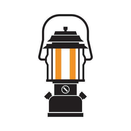 modern lamp: Vintage camping lantern silhouette isolated on white background. Modern lamp with glowing fire wick. Diode tourist lantern outline vector illustration. Old lamp for hiking.