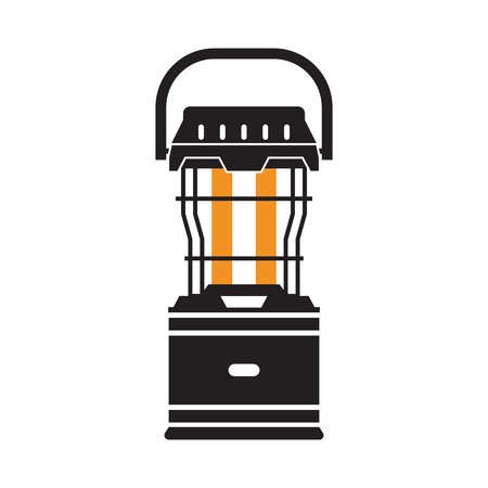 flicker: Vintage camping lantern silhouette isolated on white background. Modern tourist lamp with glowing light. Blue diode lantern outline vector illustration. Retro lamp for hiking.