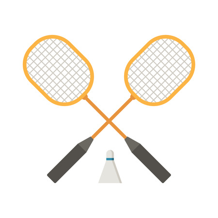Crossed badminton rackets and volant vector illustration.