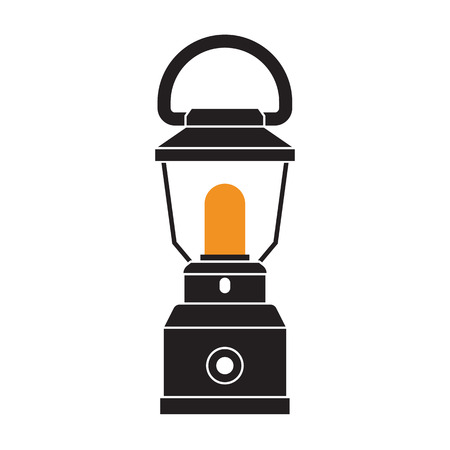 flicker: Vintage camping lantern silhouette isolated on white background. Modern lamp with glowing fire wick. Oil lantern outline vector illustration. Old lamp for hiking.