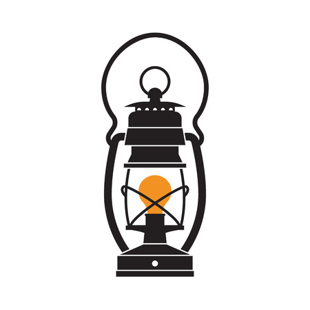 lamp outline: Vintage camping lantern silhouette isolated on white background. Retro gas lamp with glowing fire wick. Oil lantern outline vector illustration. Old lamp for hiking.