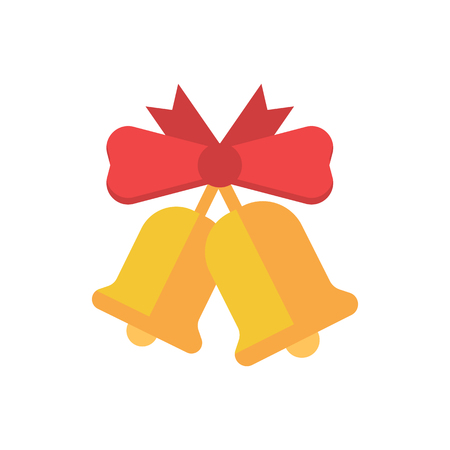Christmas bell with red ribbon bow flat design illustration. Hand jingle bell vector icon for website and applications. Stock Photo