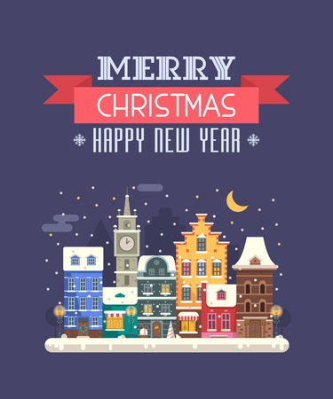 wishing: Vector Christmas wishing card with traditional celebrating text. Merry Christmas and Happy New Year greetings card with winter festive background. Winter holidays congratulation template in flat.