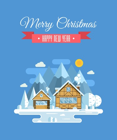 wishing card: Vector Christmas wishing card with traditional celebrating text. Merry Christmas and Happy New Year greetings card with winter village background. Winter holidays congratulation template in flat. Stock Photo