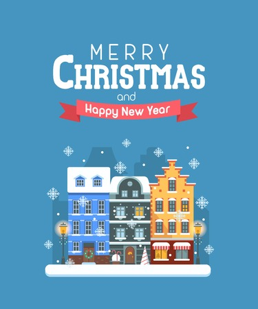 wishing card: Vector Christmas wishing card with traditional celebrating text. Merry Christmas and Happy New Year greetings card with winter festive background. Winter holidays congratulation template in flat.