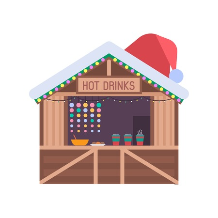 christmas market: Christmas market stall with food and hot drinks. Xmas gift shop with garlands, souvenirs and santa hat on roof. Christmas wooden souvenir kiosk vector illustration.