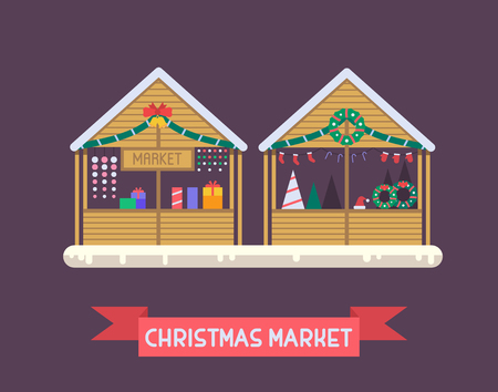 christmas market: Christmas market stalls with New Year gifts. Xmas gift shops with garlands, souvenirs and decoration. Christmas fair wooden kiosks vector illustration.