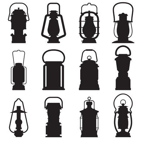 lamp outline: Camping lantern silhouette set isolated on white background. Different oil lamp outline collection. Modern and retro lanterns flat vector icons. Handle camping lanterns and gas lamps silhouettes.