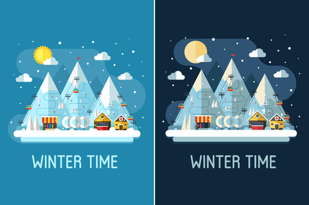 chalet: Winter travel landscape with ski resort by day and night. Winter posters with snow mountains, chalet, funiculars and ski slopes. Winter holidays backgrounds or vertical banners in flat design.