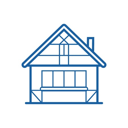 timbered: Winter chalet thin line icon. Traditional half-timbered house vector illustration in outline design. Snowy cottage or hunting lodge building pictogram for web and devices. Stock Photo