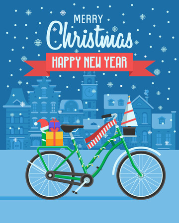 wishing card: Christmas bicycle wishing card with traditional celebrating text. Merry Christmas and Happy New Year greetings card with winter bike on europe city background. Winter holidays congratulation template.