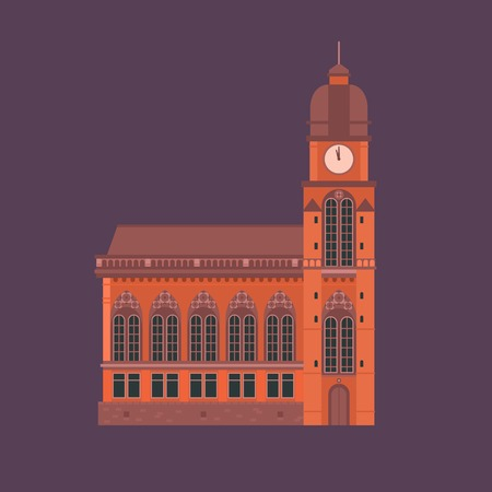 roman catholic: Europe catholic church vector illustration. Roman cathedral with dome and clock tower. Tourist religious landmark for maps and websites. Flat design cathedral isolated. Stock Photo