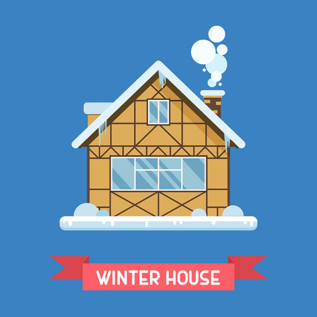 drift: Traditional half-timbered cottage by winter. Alpian chalet building with snowdrifts and icicles . Winter house vector illustration. Snowy country home or wooden hut dwelling isolated.