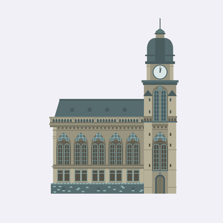 points of interest: Europe catholic church vector illustration. Roman cathedral with dome and clock tower. Tourist religious landmark for maps and websites. Flat design cathedral isolated on white background. Illustration