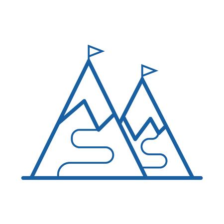Ski mountains vector icon in outline design. Ski slopes thin line illustration with tracks and flags. Ski resort label.
