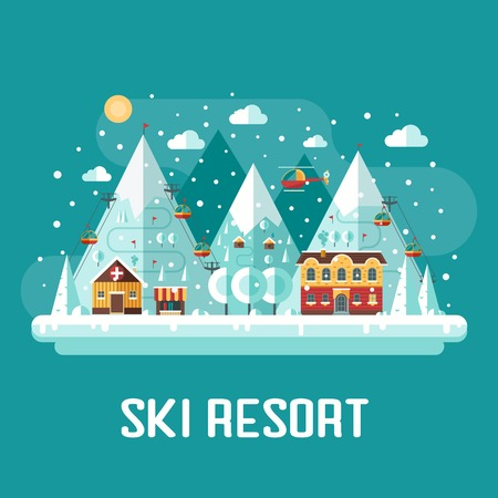 Winter vacation flat landscape. Mountain ski resort concept scene. Winter time landscape in flat design with funiculars, mountains, medicine tent, house and snow. Snow time concept background.
