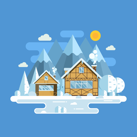 peaks: Winter village landscape with snowy homes, frozen lake and mountain peaks. Outdoor winter background with snow town in alps by sunny day. Winter holidays banner template with half-timbered houses.