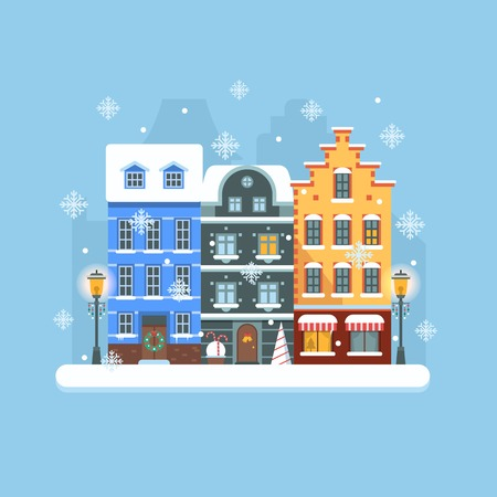 mansard: Snowy Christmas street flat landscape with colorful european houses and New Year decorations. Christmas europe city winter day background with old town building facades and snowfall.