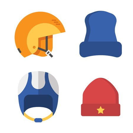 Winter sport head wear set. Skiing and snowboarding helmets and caps. Snowboarder protective hat in outline design. Winter headgear isolated on white background. Snow activity hats. Stock Photo