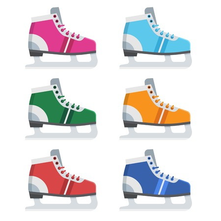 Figure ice skating shoes in different colors. Various ice-skates vector illustration. Stock Photo