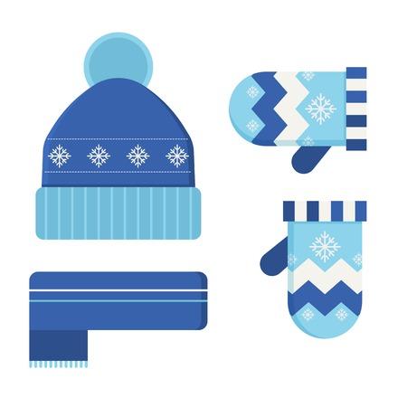 warm cloth: Winter hat, scarf and mittens flat design illustration. Warm wear vector set.