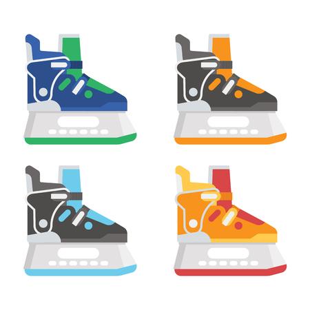slip homme: Chaussures de patinage sur différentes couleurs. Divers illustration de vecteur de patins à glace.