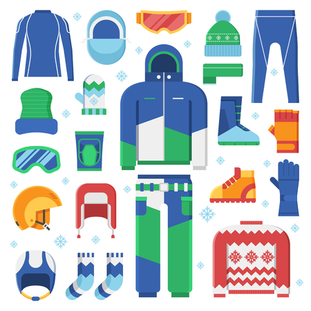 sportswear: Winter clothes and accessories for active lifestyle. Snowboard jacket, helmet, ski goggles. Skiing and snowboarding winter sportswear and warm dress. Snow activities and sports clothing set in flat.