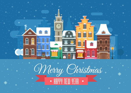 wishing card: Vector Christmas wishing card with traditional celebrating text. Merry Christmas and Happy New Year greetings card with Europe snow city background. Winter holidays congratulation template in flat.