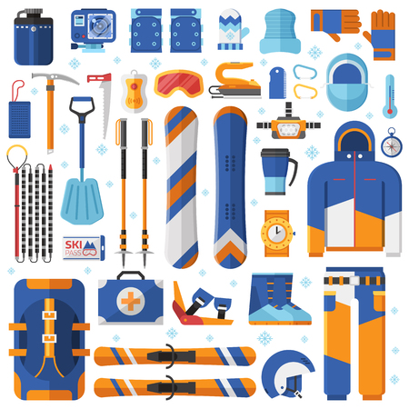 Mountain skiing and snowboarding equipment. Ski gear snowboard accessories. Jumpsuit, avalanche rescue kit and other winter sports and activity elements. Snow free ride essentials collection.