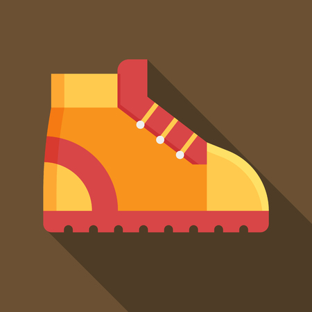 hiking boot: Tourist hiking boot square icon. Orange trekking shoe vector illustration with long shadow. Outdoor activity footwear in flat design. Stock Photo