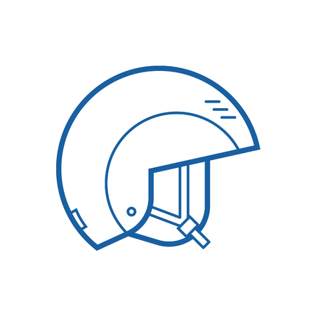 casque: Snowboard or ski helmet vector icon. Skiing and snowboarding helm thin line pictogram. Snowboarder protective hat in outline design. Stock Photo