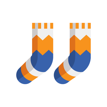 Warm winter wool socks vector icon in flat design. Stock Photo