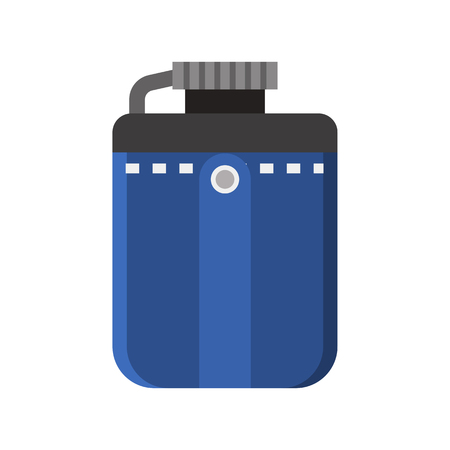 hip flask: Tourist flask vector icon. Hiking water bottle illustration in flat design. Hip flask isolated on white background.