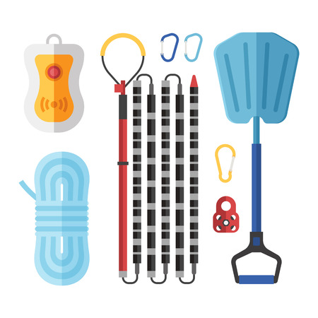 Avalanch rescue kit with probe, snow shovel, rope, beeper and carabiners.  Alpinism protective equipment vector set. Illustration