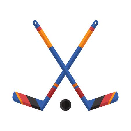 icehockey: Crossed hockey sticks and puck vector illustration. Winter sports ice-hockey icon.